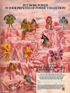 She-Ra doll chart... spent hours looking at this and dreaming! We had She-ra, the peacock one, the pink see-through one, the purple one and the horses!