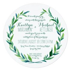 Laurel Wreath Olive Leaf Branch Modern Round