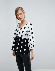10399b89b6 Image 1 of ASOS V Neck Top in Mixed Spot #TopClassyOutfits