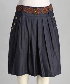 Take a look at this Navy Belted Pleated Plus-Size Skirt - Plus on zulily today!