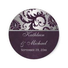 Lapis Purple & Silver Grey Damask Wedding Sticker