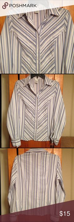 "EAST 5TH STRIPED BUTTON DOWN BLOUSE Women's M Excellent LIKE NEW condition blue, beige and white striped button front blouse top by EAST 5TH! Size women's M. Material: 97% polyester, 3% spandex. Chest: 19.5"" across lying flat pit to pit. Length: 24"". FLAWLESS! SUPER CUTE! East 5th Tops Button Down Shirts"
