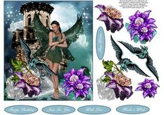 Dragon Fae Fantasy Topper With Decoupage on Craftsuprint - Add To Basket!