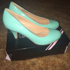 Teal mini heels Teal, not long heel, comfy, only wore once. Shoes Heels