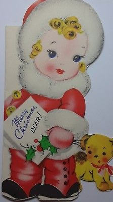 Vintage Gibson Die Cut Christmas Card Cute Little Girl Red Snowsuit Fur Trim Dog