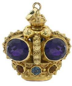 Victorian Amethyst Blue Topaz Citrine 18k Gold Fob/Charm/Pendant. Magnificient and majestic.