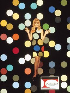 """Formica Corporation responded to the psychedelically attuned late 1960s with ads featuring """"Formica Girl,"""" who was a contrast to the happy housewife imagery of a few years before."""