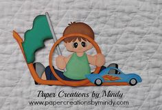 Racecar Boy Kids (c) premade paper piecing for scrapbooks pages embellishment