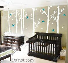 white birch Tree Decals nursery decals Kids wall decals baby decal  room decor wall decor wall art birch decals-birds in Birch forest 100in by NatureWall on Etsy https://www.etsy.com/listing/122135768/white-birch-tree-decals-nursery-decals