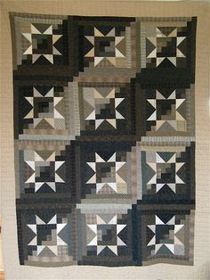 Patchwork Quilt  black and beige Taupe by kallistiquilts on Etsy