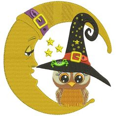 Owl Wearing Witch Hat Sitting On The Moon Halloween Filled Machine Embroidery Design Digitized Pattern