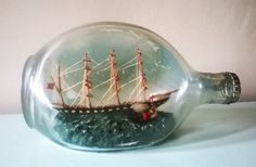 Large Dimple Ship in a Bottle With Two Ships  Signed by RAVERETRO