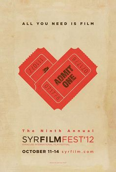 (Amsterdam Gay Film Festival 2012 poster) Again, the image of the film tickets in the shape of a love heart would be something that I could create using Linocut. In addition, the design also signifies the organisations love of film as the title reads, 'All you need is love', taken from the famous title, 'All you need is love'. #filmfestival