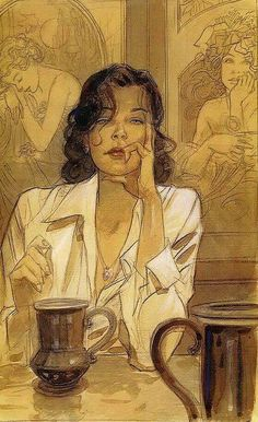 Café - Jean-Pierre Gibrat French b.1954- Watercolours