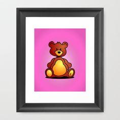 Cuddly Teddy Bear Framed Art Print by Cardvibes - $35.00 #Society6 #Cardvibes #Tekenaartje