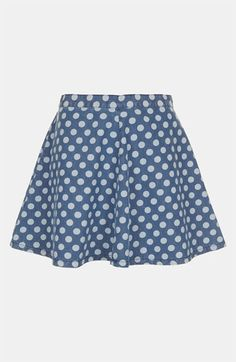 Topshop Moto Polka Dot Denim Skater Skirt available at #Nordstrom