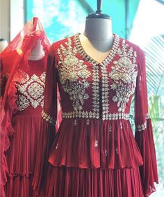 Fashion Ideas Night Out Love this red silver embroidered peplum top. Indian Gowns Dresses, Indian Fashion Dresses, Indian Designer Outfits, Designer Dresses, Indian Designers, Girls Dresses, Indian Wedding Outfits, Bridal Outfits, Indian Outfits