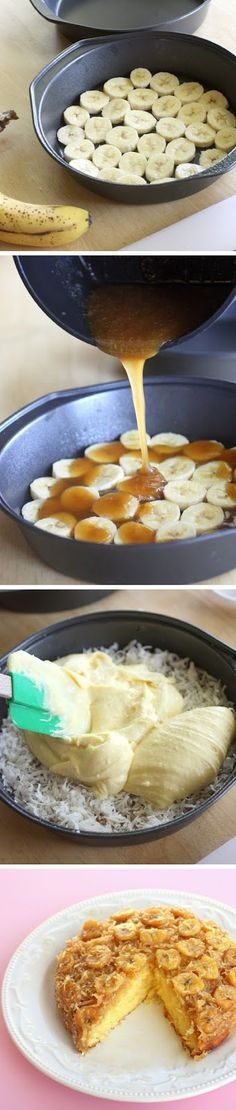 Banana Coconut Upside Down Cake. Looks so good. Wish I wasn't allergic to coconuts..