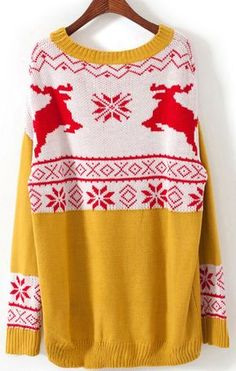 Snowflake Deer Sweater... Yes, please. #winter #fashion #yellow