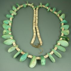 Kewa/Santo Domingo Tab Necklace, Cerrillos Turquoise and clamshell heishi beads, ca. 1890 - 1940, New Mexico. This style of necklace has been popular of over a thousand years!