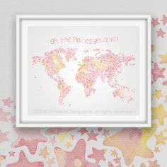 Girls room decor world map poster printable by printablechangeable girls world map art printable colorful pink by printablechangeable gumiabroncs Images