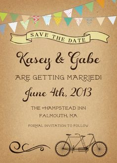 Country Wedding Save the Date Card Vintage Rustic by inoroutmedia