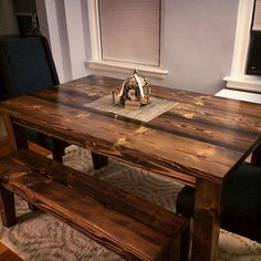 5' Farmhouse table with matching bench. Solid wood kitchen table. Dining table. Stained Dark Walnut.