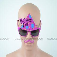 "Novelty ""Birthday Girl"" glasses with added moustache. Girl Glasses, Girls With Glasses, Novelty Sunglasses, Pink Birthday, Party Accessories, Moustache, Fancy Dress, Whimsical Dress, Mustache"
