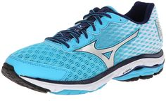 e25ee24e569f Mizuno Women's Wave Rider 18 Running Shoe, B(M) US - Blue Atoll/Silver.  Lightweight daily trainer with SmoothRide flex grooves and flex controllers.
