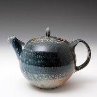 Lisa Hammond - Teapot, Blue soda glaze Height (cm): 15 Width (cm): 15. width with handle & spout is 22 cm