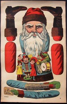 Huge Santa as Jumping Jack 2 Vintage Christmas Images, Victorian Christmas, Blue Christmas, Christmas Paper, Christmas Pictures, Christmas Crafts, Xmas, Paper Puppets, Paper Toys