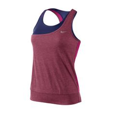 NIKE tank top with integrated bra. Breathable. Racerback. Asymmetrical front. Brand logo chest. - Pink