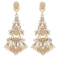 Beige Color Acrylic Stone Long Drop Chandelier Post Earrings  #Unbranded #Stud