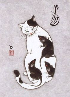 Artwork by Japanese Tattoo artist Kazuaki Horitomo Kitamura. I Love Cats, Crazy Cats, Tattoo Gato, Cat Tattoos, Hp Tattoo, Ankle Tattoos, Arrow Tattoos, Friend Tattoos, Tattoo Small