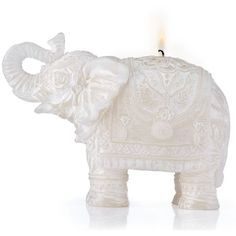 Carved Elephant Candle ($30) ❤ liked on Polyvore featuring home, home decor, candles & candleholders, fillers, candles, accessories, decor, elephant candle, unscented candles and carving candles