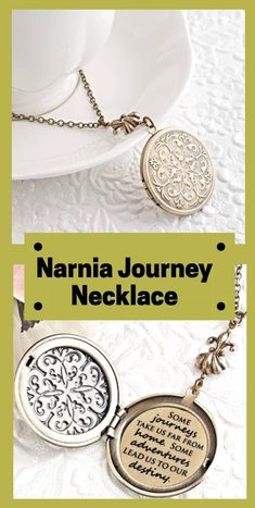 """This magnificent round photo locket opens to reveal the quote from the Chronicles of Narnia by C.S. Lewis """"Some journeys take us far from home. Some adventures lead us to our destiny."""" This locket features a beautiful ornate embossed Victorian filigree design and comes on a beautiful high quality soldered cable chain... hanging from the chain is an exquisite heirloom quality fleur-de-lis bail. #chroniclesofnarnia #narnia #ad"""