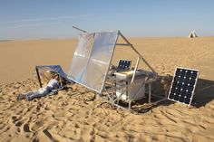 The SolarSinter by Markus Kayser is a solar-powered 3D printer that uses the sun (instead of a laser) to melt sand into glass objects.