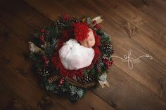 Christmas Newborn Photography Pose idea | Wrapped Newborn | Newborn Wreath | CT Newborn Photographer Elizabeth Frederick pHotography www.elizabethfrederickphotography.com