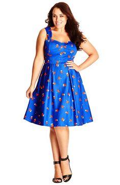 1950s Plus Size Womens City Chic So Fruity Fit  Flare Sundress Size XX-Large - Blue $99.00 AT vintagedancer.com