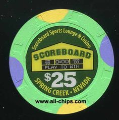#LasVegasCasinoChip of the day come from up North $25 Scoreboard Casino 2nd issue UNC you can get here https://www.all-chips.com/ChipDetail.php?ChipID=19450 This is very hard to get!  #CasinoChip #LasVegas