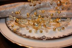 Gold Ivory Pearl and Crystal Napkin Rings  by AddSomeCharmBoutique