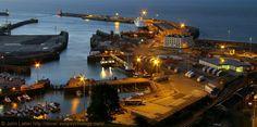 Night Panorama of Dover Harbour Western Docks, St Martin's Battery, Kent, UK