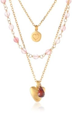 """Satya Jewelry """"Mother's Day"""" Gold Plated Heart Triple Chain Necklace, 18""""    Price:$148.00"""