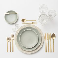 RENT: Lace Chargers/Dinnerware in White + Heath Ceramics in Mist + Rondo Flatware in Brushed Gold + Early American Pressed Glass Goblets + Antique Crystal Salt Cellars SHOP:Rondo Flatware in Brushed Gold Kitchen Items, Home Decor Kitchen, Lenotre, Wedding Reception Table Decorations, Heath Ceramics, Table Set Up, Deco Table, Dinnerware Sets, Table Settings