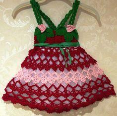 "Ravelry: Baby Dress ""Strawberry Shortcake"" pattern by Luba Roytberg Crochet For Kids, Crochet Baby, Knit Crochet, Crochet Style, Crotchet, Strawberry Dress, Strawberry Shortcake, Crochet Strawberry, Crochet Doll Clothes"