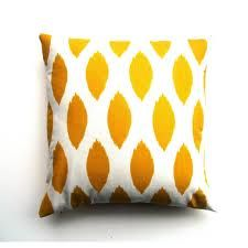 reverse yellow and white ikat dot pillow