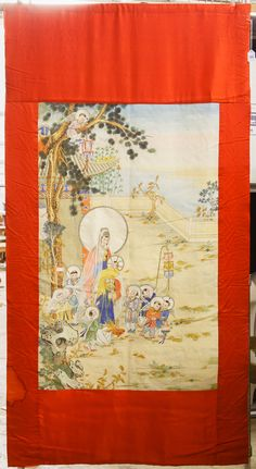Lot 109: Asian Painted Silk Religious Wall Hanging; Having an Asian version of the biblical birth of Jesus scene in watercolors with gilt highlights