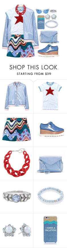 """""""Fun Summer Bomber"""" by alynncameron ❤ liked on Polyvore featuring MANGO, M Missoni, STELLA McCARTNEY, DIANA BROUSSARD, Apt. 9, Cathy Waterman, Sydney Evan, Kate Spade and bomberjackets"""