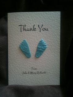 10 x Baby Boy Thank You Cards - Handmade With Baby Blue Pair