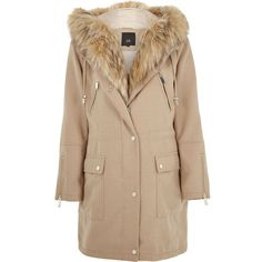 River Island Camel faux fur trim parka (3.106.150 IDR) ❤ liked on Polyvore featuring outerwear, coats, coats / jackets, women, brown parka coat, tall coats, faux fur trim coat, camel coat and parka coats